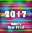 Happy New 2017 Year on striped pattern vector image