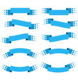 set of 10 flat blue isolated ribbon banners vector image