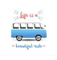 Summer time background with hippie van vector image vector image