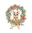 French bulldog with flowers vector image