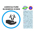 cow care hand rounded icon with set vector image