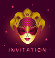 invitation card with purple glittery mask vector image