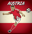 austria soccer player with flag background vector image