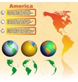 America map on yellow background with world globes vector image