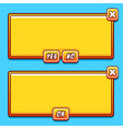 Yellow game interface panels ui buttons vector image