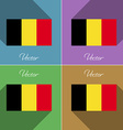 Flags Belgium Set of colors flat design and long vector image