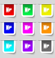 35 mm negative films icon sign Set of multicolored vector image