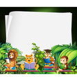 Border design with wild animals reading books vector image vector image