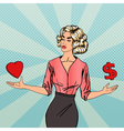 Woman Making a Choice Between Love and Money vector image