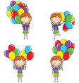 Cute girls with color balloons vector image