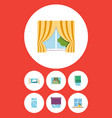 flat icon frame set of balcony cloud glazing and vector image