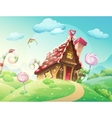 sweet house of cookies and candy on a background vector image