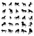 Unicorn silhouette set vector image