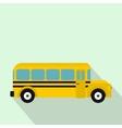 Yellow school bus icon flat style vector image