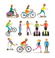 set of modern street sport transport vector image