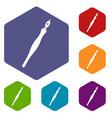 fountain pen icons set hexagon vector image