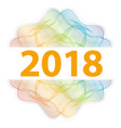 2018 year - guilloche rosette with text on white vector image