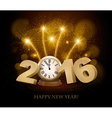 Happy New Year background with 2016 a clock and vector image vector image