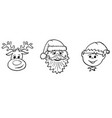 christmas set of santa claus elf and rudolf the vector image