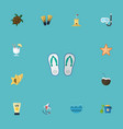 flat icons swimming tortoise shovel and other vector image