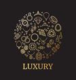 golden jewelry and gemstones line icon vector image