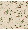 Green sprig with red berries seamless background vector image