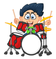little boy playing drum vector image