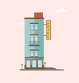 modern mid-rise hotel building side view colorful vector image