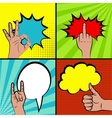 Set comic sound effects pop art vector image