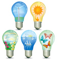 Set of abstract eco lamp vector image