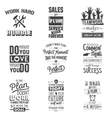 Set of vintage business motivation typographic vector image