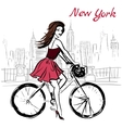 woman on bicycle vector image vector image