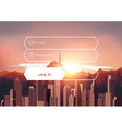 Login box with city sunset background vector image