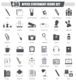 Office stationery black icon set Dark grey vector image