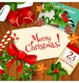 Christmas Day winter holiday greeting card design vector image