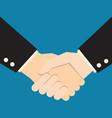 handshake on blue background business partners vector image