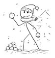 man holding and throwing snowball during winter vector image