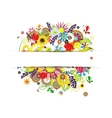 Gift card design with summer floral bouquet vector image vector image