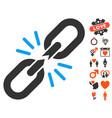 break chain link icon with valentine bonus vector image