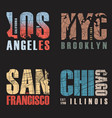 set of us cities t-shirt designs vector image vector image
