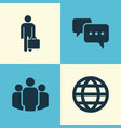 job icons set collection of chatting work man vector image
