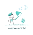 customs officer catches the butterfly a net vector image vector image