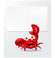 Cartoon crab holding blank sign vector image vector image