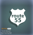 Route 55 highway icon sign On the blue-green vector image