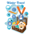 Suitcase with Winter Objects and Icons vector image