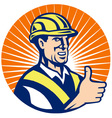construction hardhat thumb up vector image