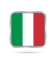 Flag of Italy Shiny metallic gray square button vector image