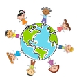 Globe kids Children Earth day vector image