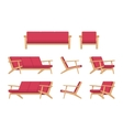 Set of retro red divan and armchair vector image