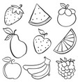 various fruit element of doodle style vector image